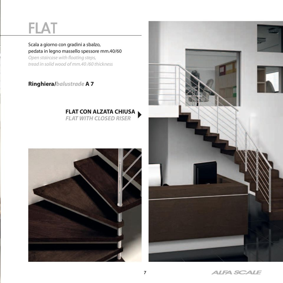 40/60 Open staircase with floating steps, tread in solid