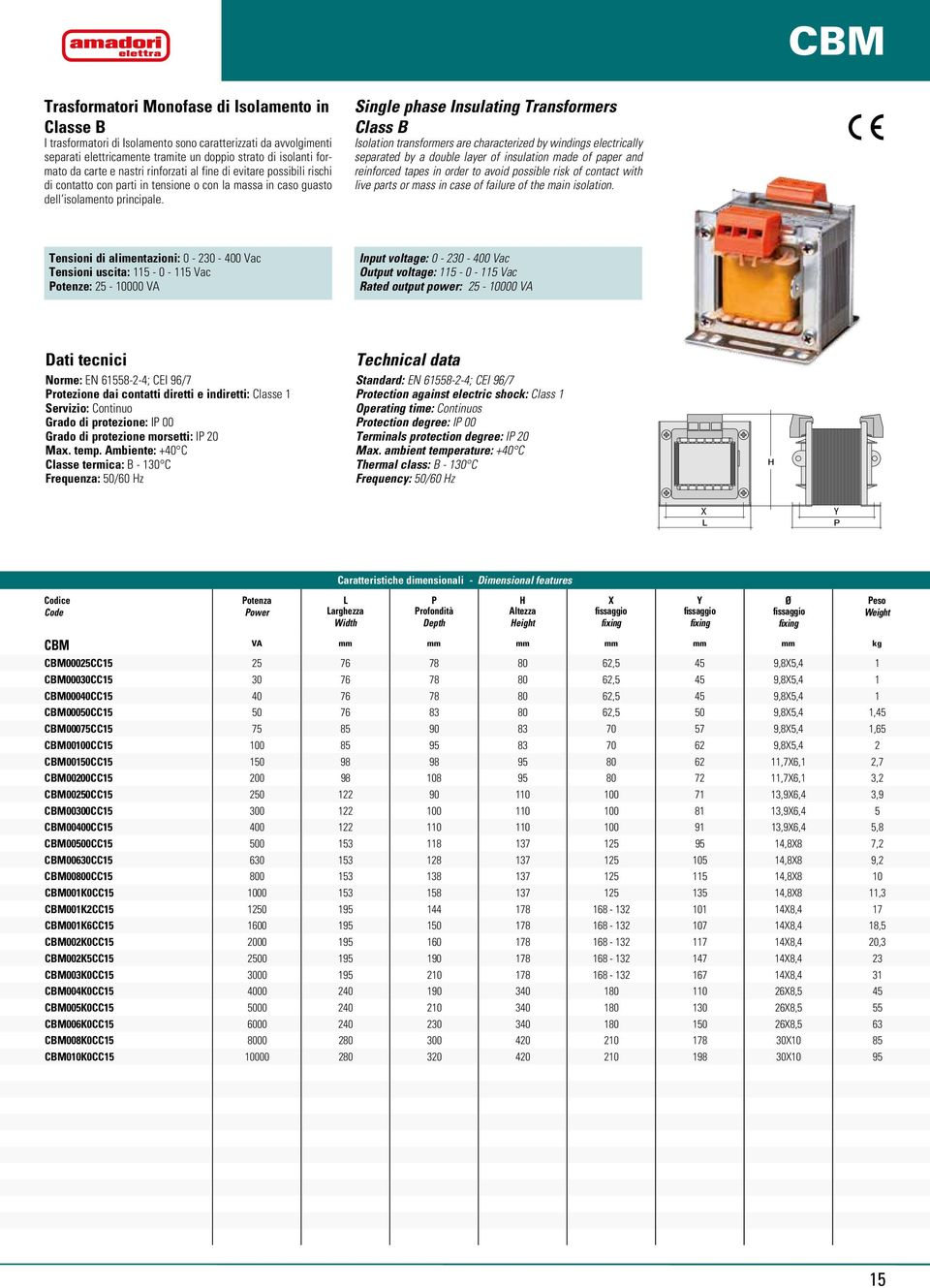 Single phase Insulating Transformers Class B Isolation transformers are characterized by windings electrically separated by a double layer of insulation made of paper and reinforced tapes in order to