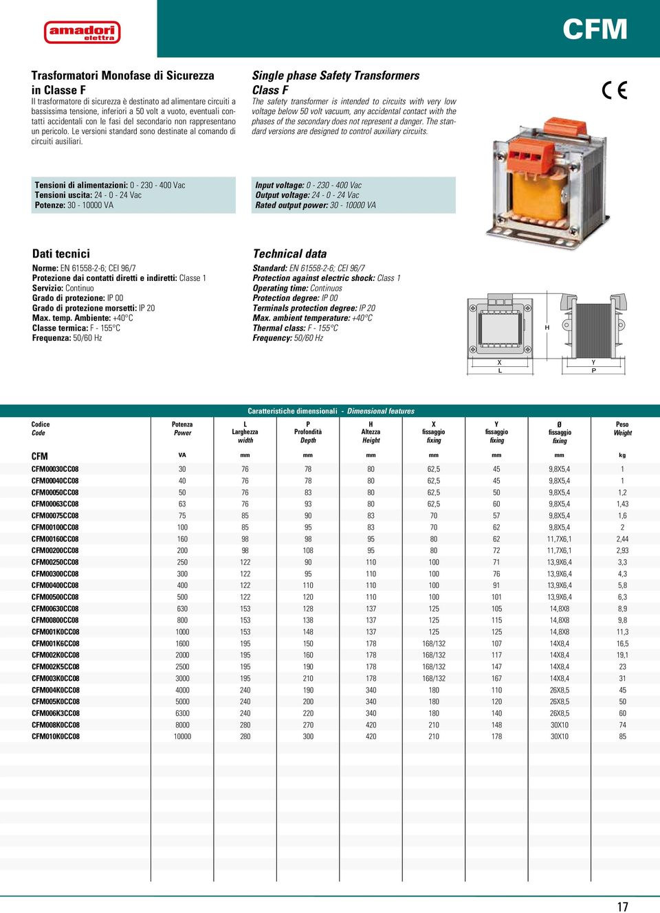 Single phase Safety Transformers Class F The safety transformer is intended to circuits with very low voltage below 50 volt vacuum, any accidental contact with the phases of the secondary does not