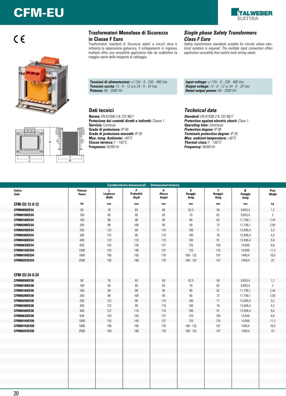 Single phase Safety Transformers Class F Euro Safety transformers standards suitable for circuits where electrical isolation is required.