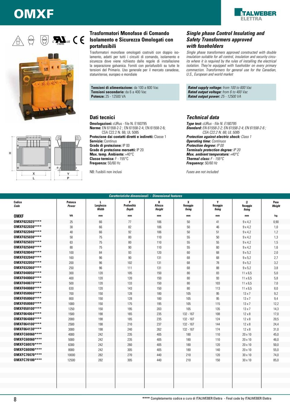 Uso generale per il mercato canadese, statunitense, europeo e mondiale Single phase Control Insulating and Safety Transformers approved with fuseholders Single phase transformers approved constructed