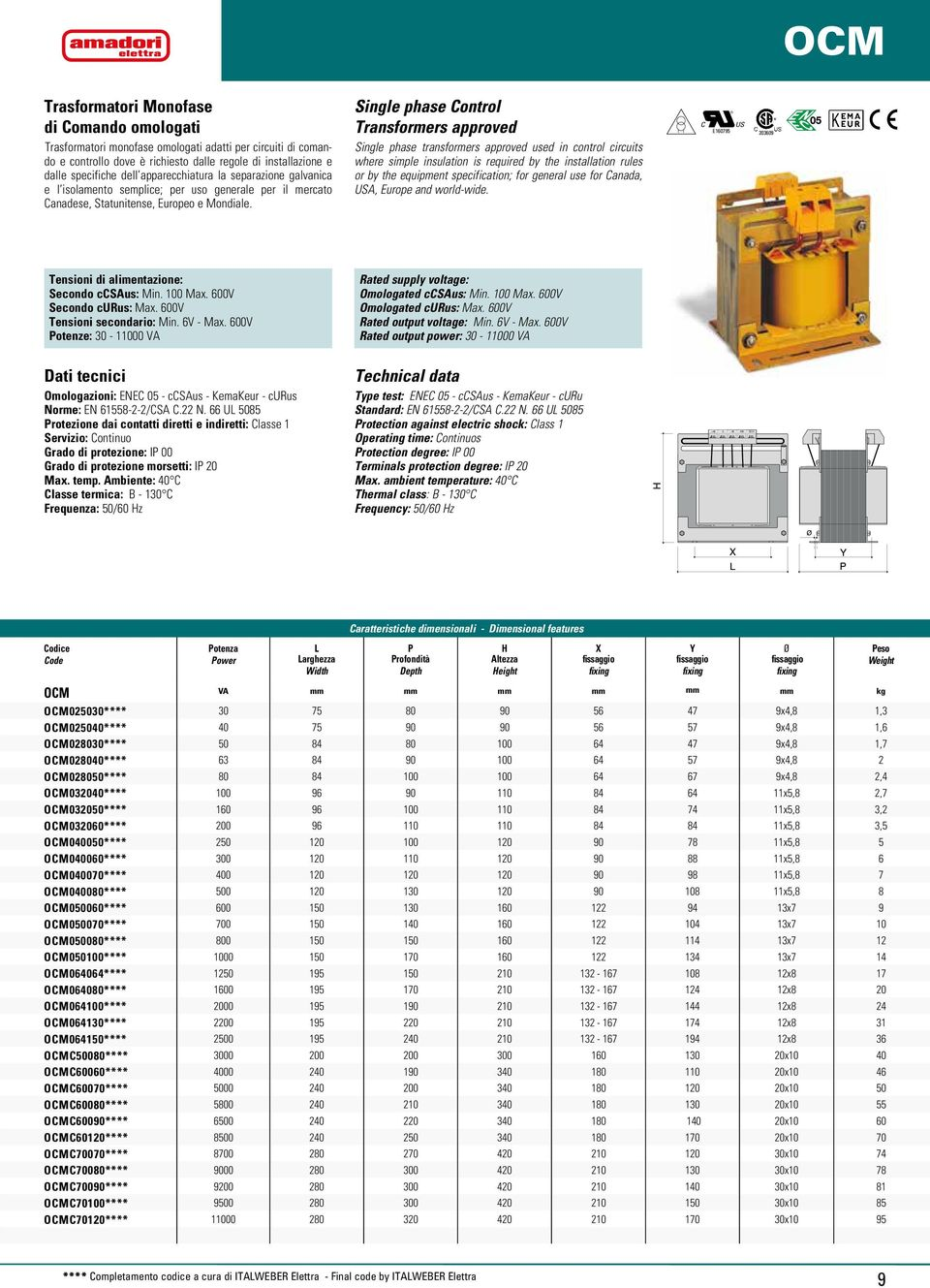 Single phase Control Transformers approved Single phase transformers approved used in control circuits where simple insulation is required by the installation rules or by the equipment specification;