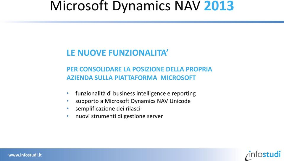 funzionalità di business intelligence e reporting supporto a Microsoft