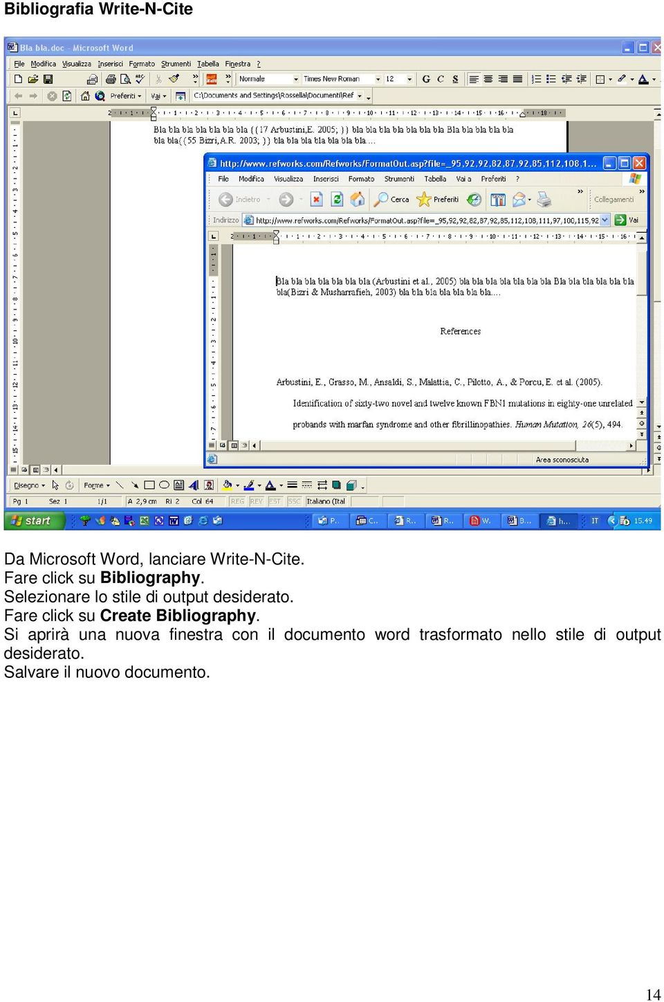Fare click su Create Bibliography.