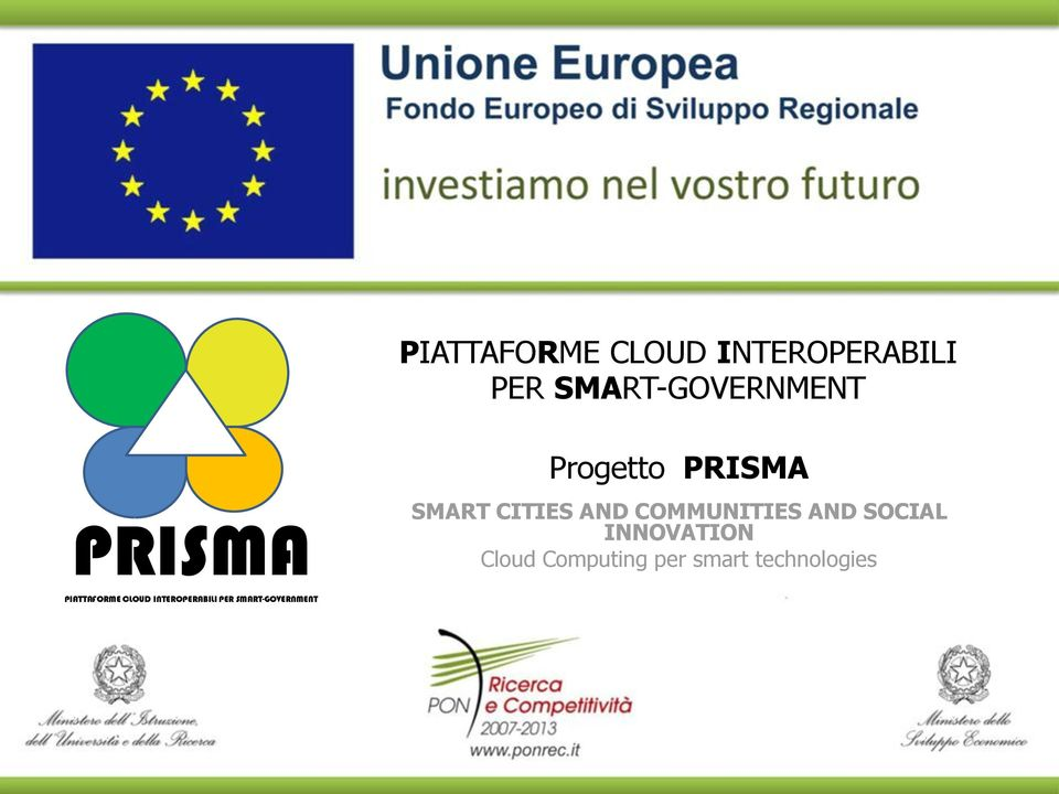 AND SOCIAL INNOVATION Cloud Computing per smart