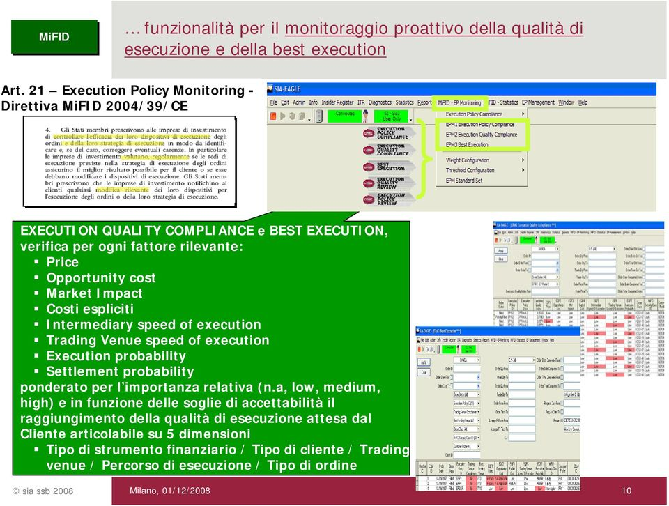 Impact Costi espliciti Intermediary speed of execution Trading Venue speed of execution Execution probability Settlement probability ponderato per l importanza relativa (n.