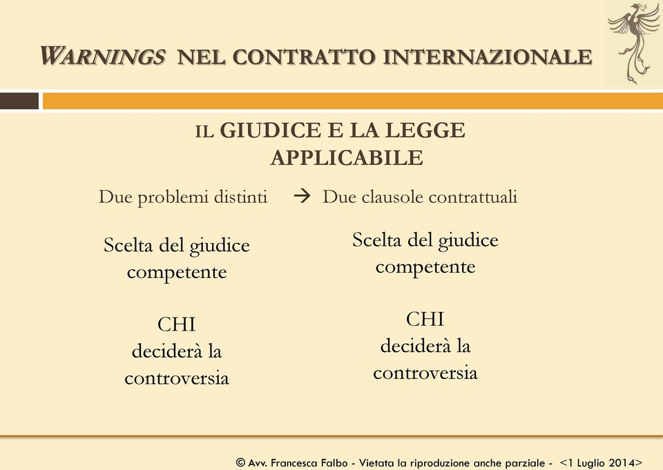competente CHI deciderà la controversia Due clausole