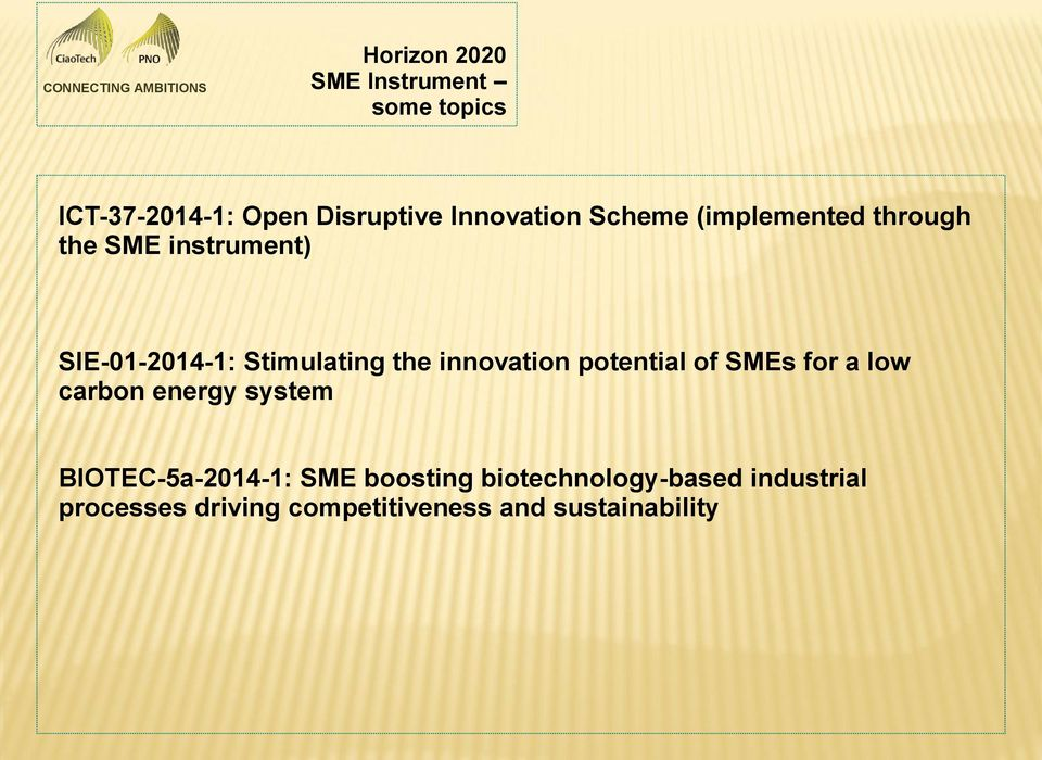 innovation potential of SMEs for a low carbon energy system BIOTEC-5a-2014-1: SME