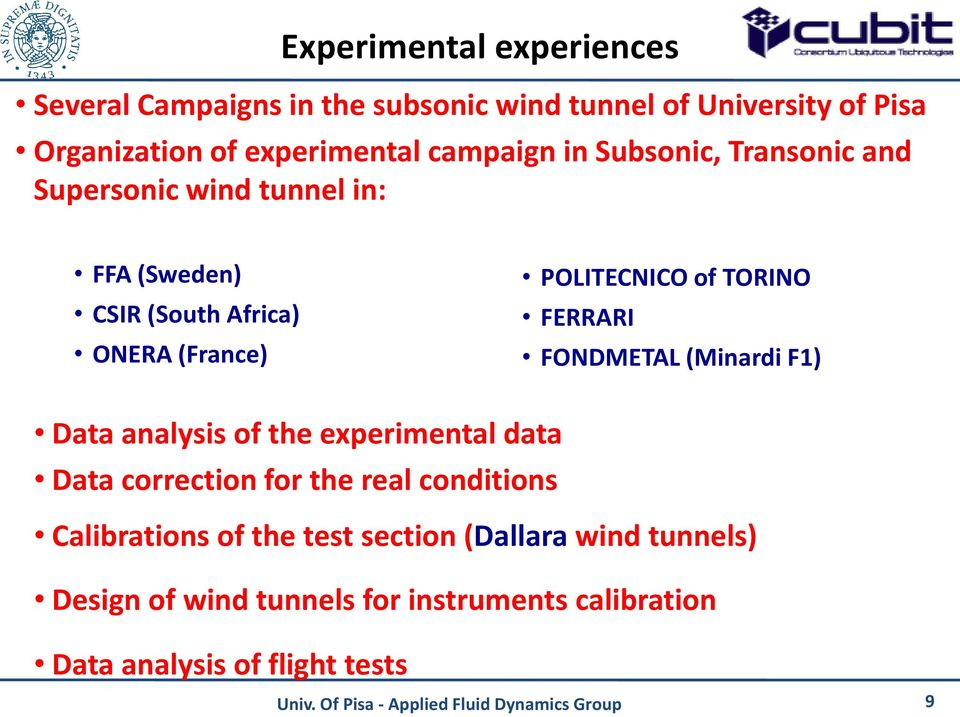 TORINO FERRARI FONDMETAL (Minardi F1) Data analysis of the experimental data Data correction for the real conditions