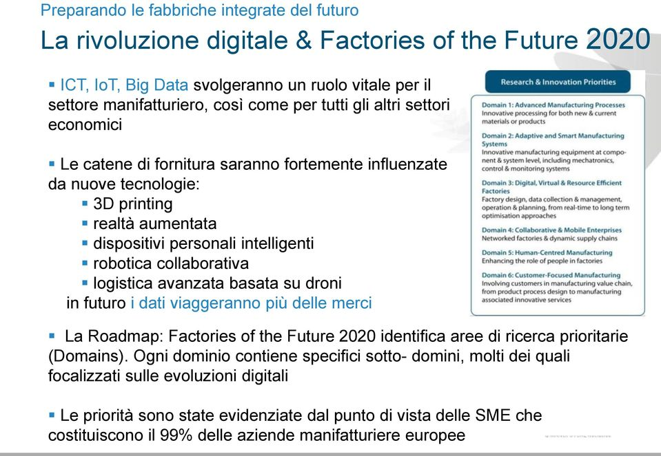 logistica avanzata basata su droni in futuro i dati viaggeranno più delle merci La Roadmap: Factories of the Future 2020 identifica aree di ricerca prioritarie (Domains).