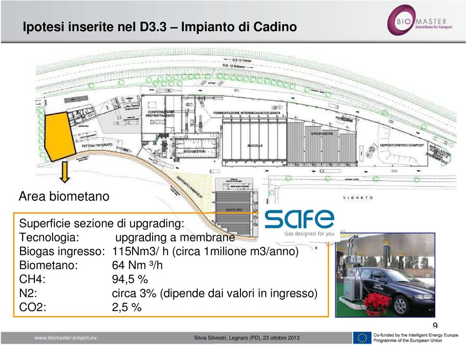 upgrading: Tecnologia: upgrading a membrane Biogas ingresso: