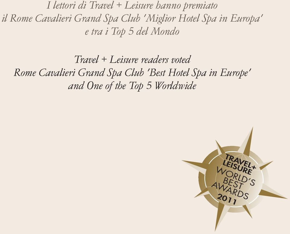 Leisure readers voted Rome Cavalieri Grand Spa Club 'Best Hotel Spa in