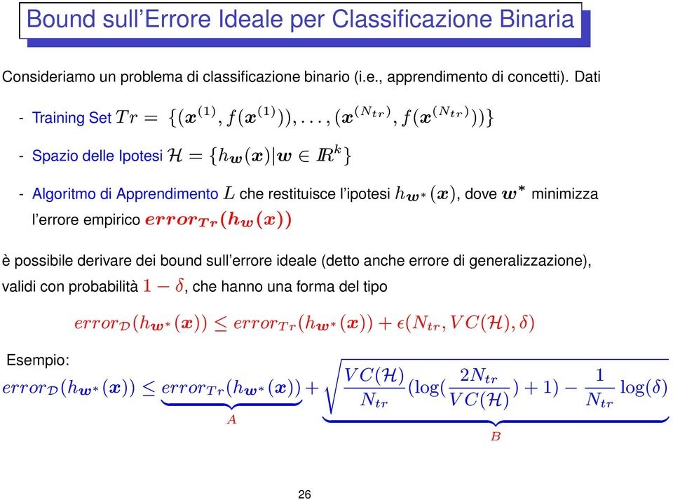 % & ' &* - Algoritmo di Apprendimento ( &* $ )0 *&0 ( &* # $ # )( Bound sull Errore Ideale per Classificazione Binaria