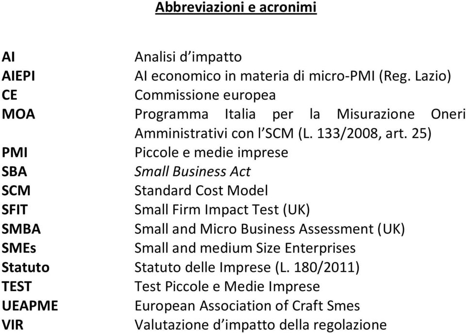 25) PMI Piccole e medie imprese SBA Small Business Act SCM Standard Cost Model SFIT Small Firm Impact Test (UK) SMBA Small and Micro Business