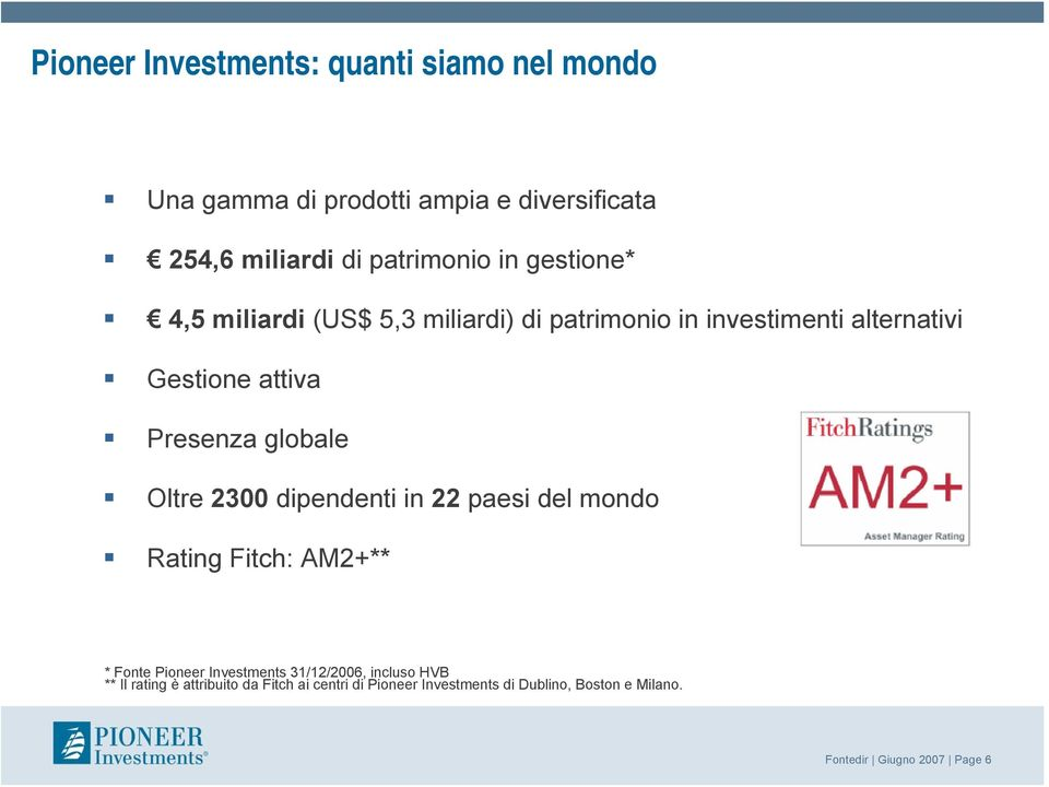 Oltre 2300 dipendenti in 22 paesi del mondo Rating Fitch: AM2+** * Fonte Pioneer Investments 31/12/2006, incluso HVB **