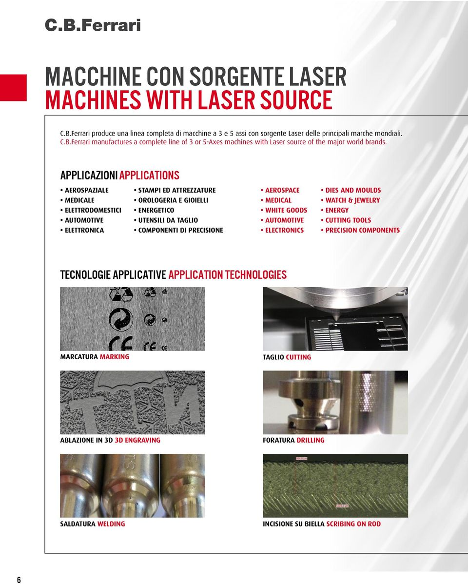 AUTOMOTIVE UTENSILI DA TAGLIO AUTOMOTIVE CUTTING TOOLS ELETTRONICA COMPONENTI DI PRECISIONE ELECTRONICS PRECISION COMPONENTS TECNOLOGIE APPLICATIVE APPLICAtion TECHNOLOGIES MARCATURA MARKING TAGLIO