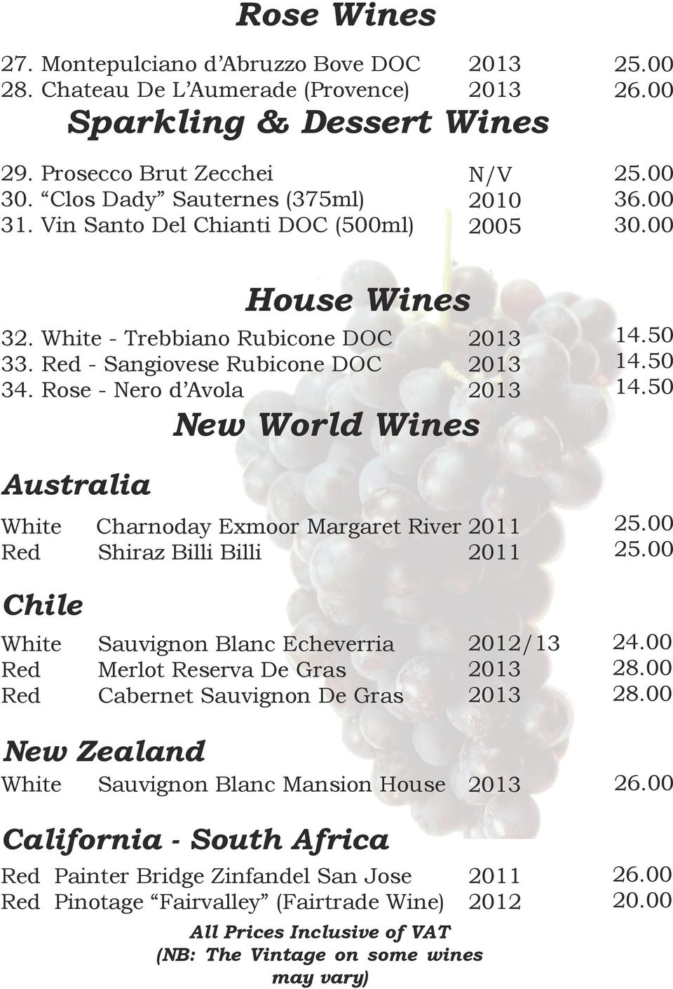 Rose - Nero d Avola Australia White Red New World Wines Charnoday Exmoor Margaret River Shiraz Billi Billi 14.50 14.
