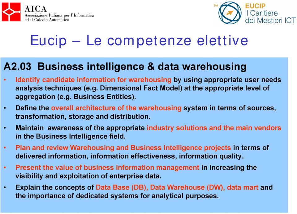 Maintain awareness of the appropriate industry solutions the main vendors in the Business Intelligence field.