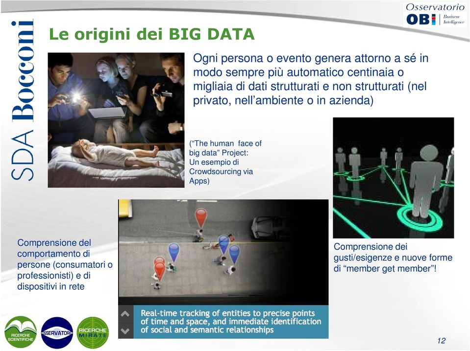 big data Project: Un esempio di Crowdsourcing via Apps) Comprensione del comportamento di persone (consumatori