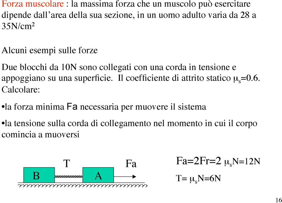 una supeficie. Il coefficiente di attito statico µ s =0.6.