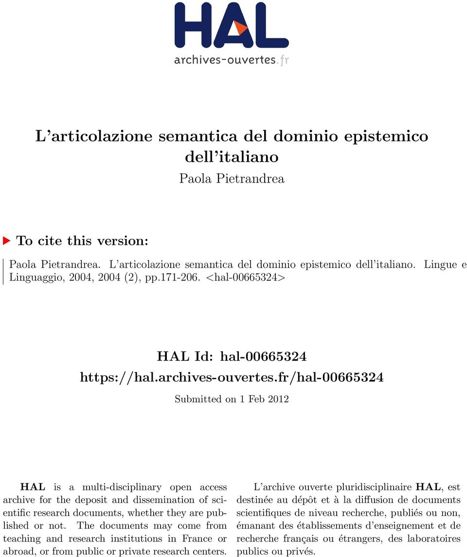 fr/hal-00665324 Submitted on 1 Feb 2012 HAL is a multi-disciplinary open access archive for the deposit and dissemination of scientific research documents, whether they are published or not.