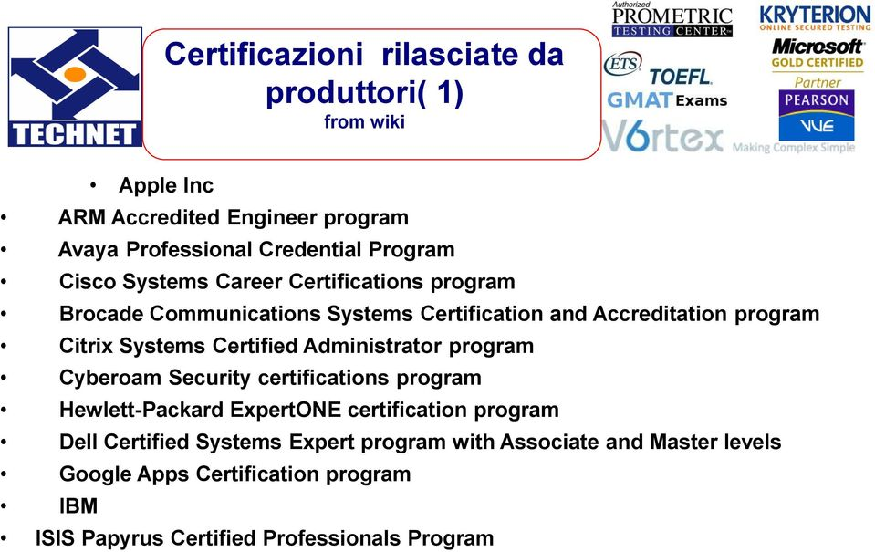 Certified Administrator program Cyberoam Security certifications program Hewlett-Packard ExpertONE certification program Dell
