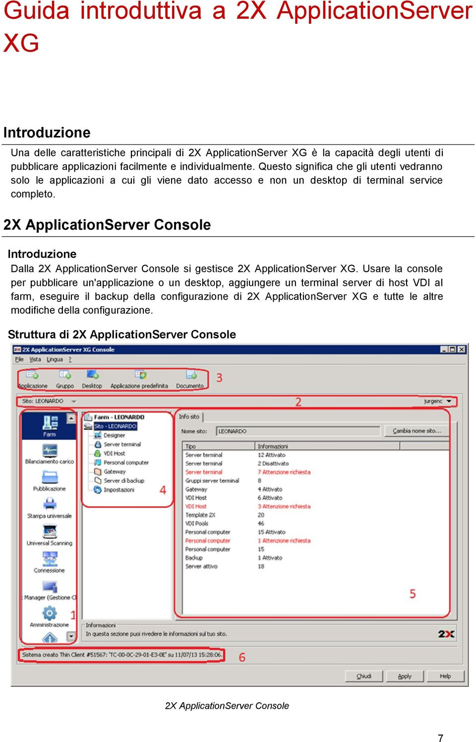 2X ApplicationServer Console Introduzione Dalla 2X ApplicationServer Console si gestisce 2X ApplicationServer XG.