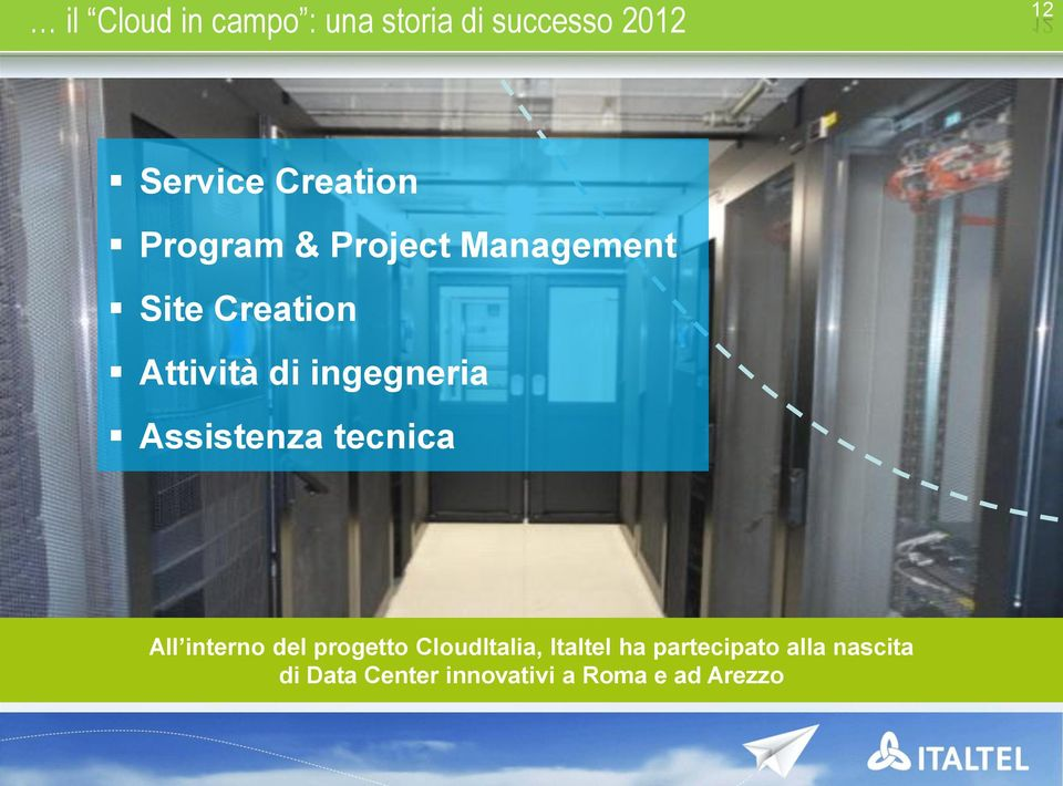 Assistenza tecnica All interno del progetto CloudItalia, Italtel ha