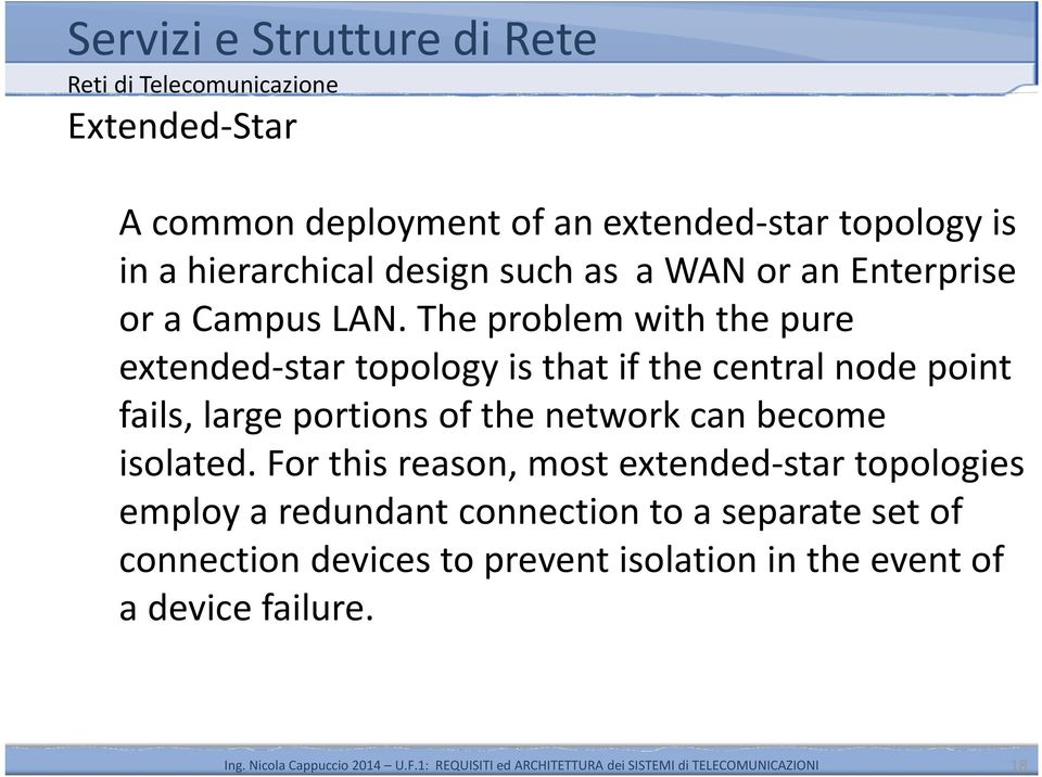 The problem with the pure extended-star topology is that if the central node point fails, large portions of the
