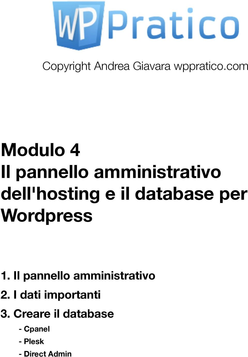il database per Wordpress 1.