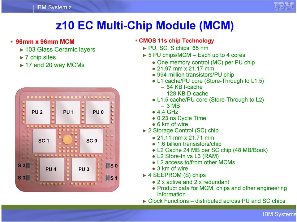 5 cache/pu core (Store-Through to L2) 3 MB 4.4 GHz 0.23 ns Cycle Time 6 km of wire 2 Storage Control (SC) chip 21.11 mm x 21.71 mm 1.