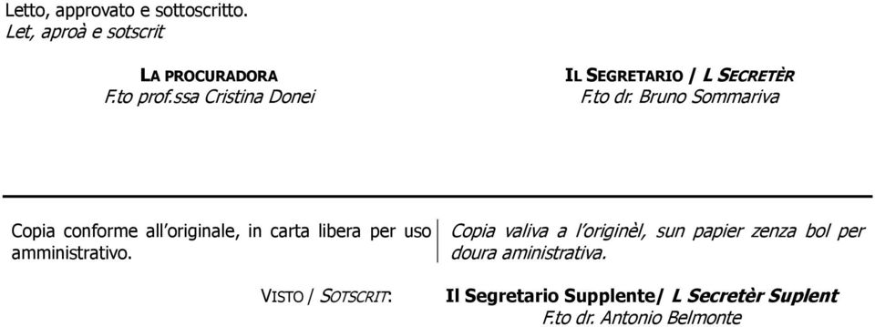 Bruno Sommariva Copia conforme all originale, in carta libera per uso amministrativo.