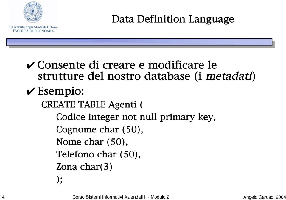 integer not null primary key, Cognome char (50), Nome char (50), Telefono