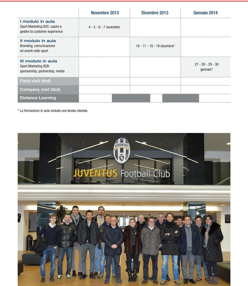 16-17 - 18-19 dicembre* III modulo in aula Sport Marketing B2B: sponsorship, partnership, media 27-28 -