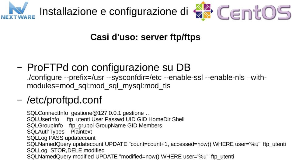 conf SQLConnectInfo gestione@127.0.
