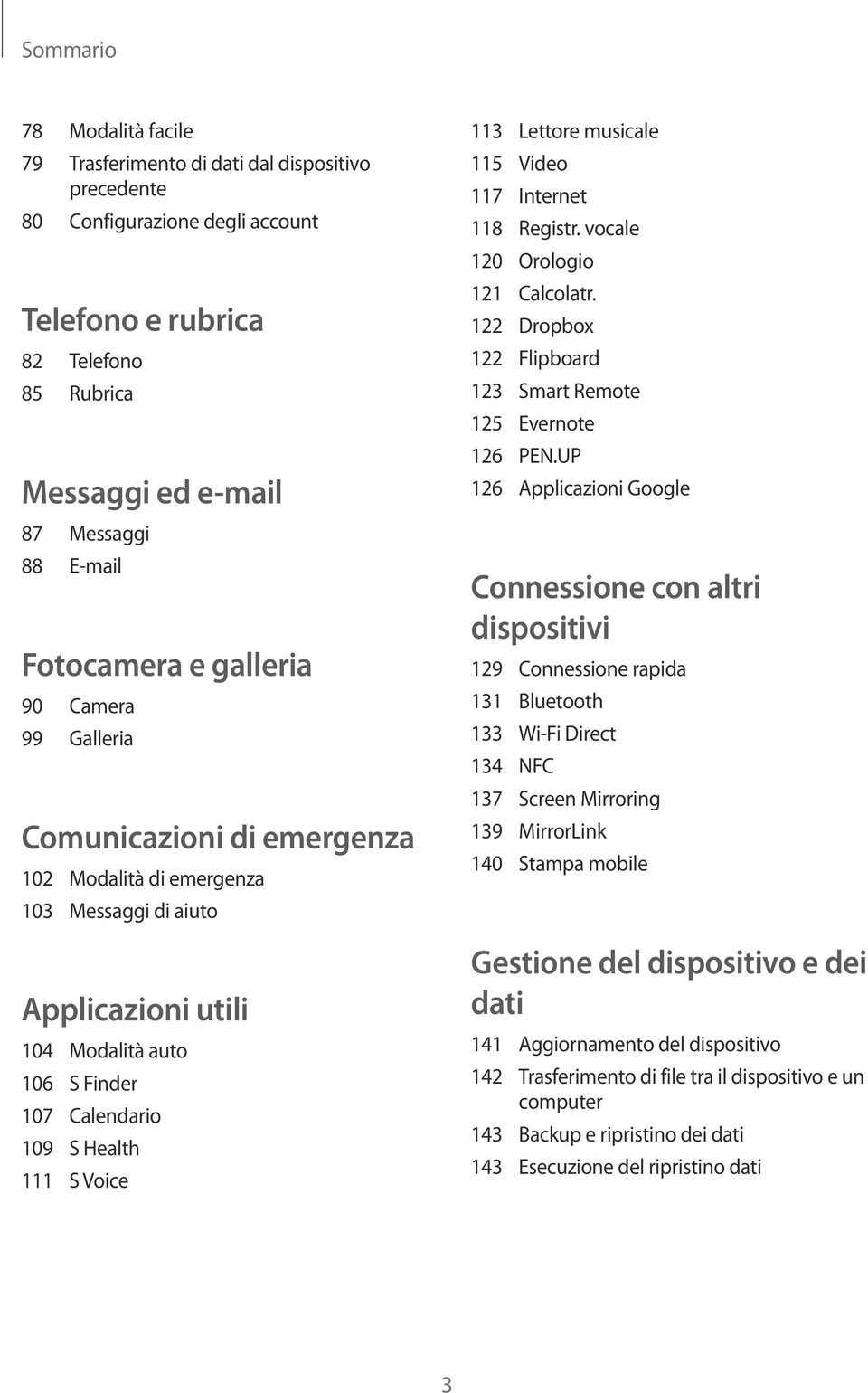 111 S Voice 113 Lettore musicale 115 Video 117 Internet 118 Registr. vocale 120 Orologio 121 Calcolatr. 122 Dropbox 122 Flipboard 123 Smart Remote 125 Evernote 126 PEN.