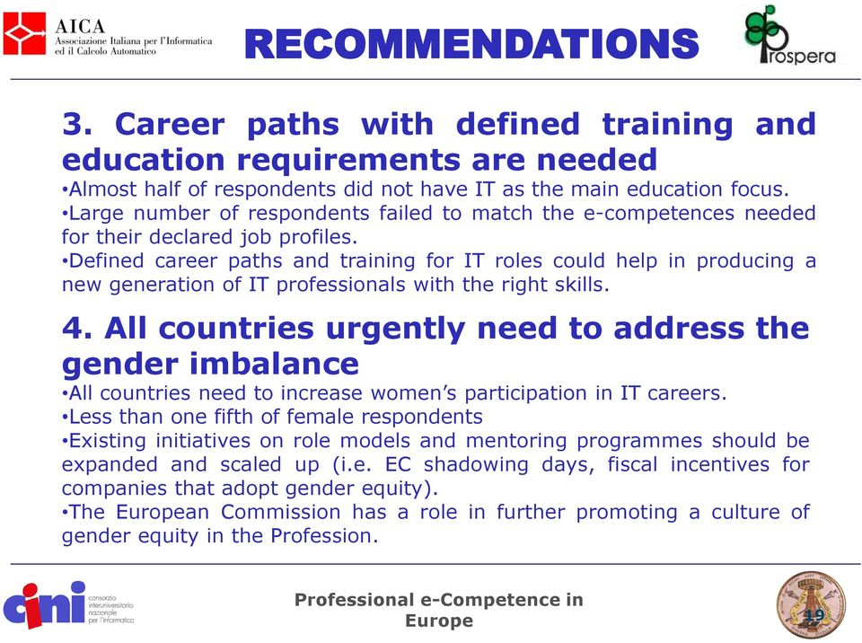Defined career paths and training for IT roles could help in producing a new generation of IT professionals with the right skills. 4.