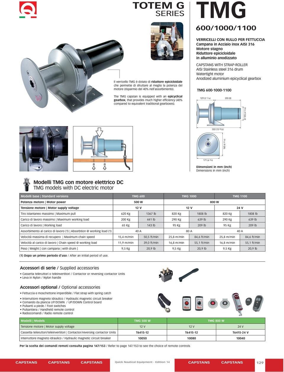 assorbimento). TMG 600-1000-1100 The TMG capstan is equipped with an epicyclical gearbox, that provides much higher efficiency (40% compared to equivalent traditional gearboxes).