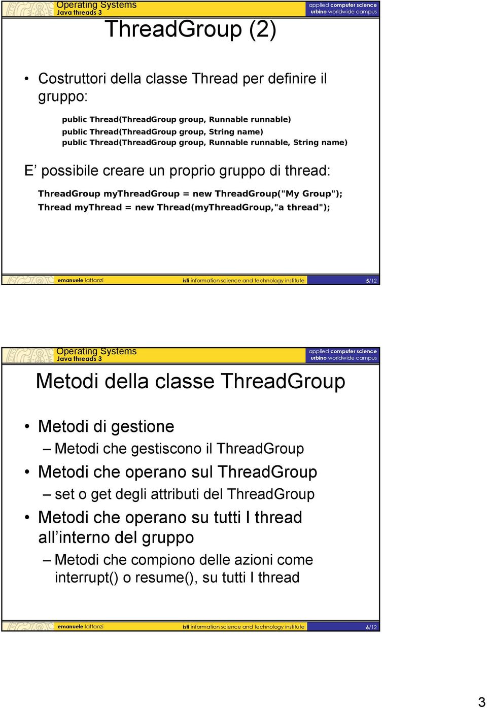 emanuele lattanzi isti information science and technology institute 5/12 Metodi della classe ThreadGroup Metodi di gestione Metodi che gestiscono il ThreadGroup Metodi che operano sul ThreadGroup set
