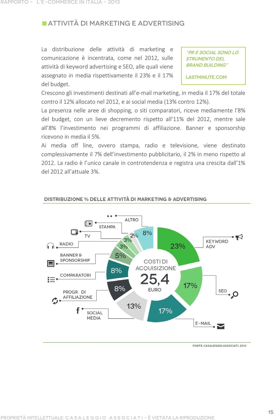 com Crescono gli investimenti destinati all e-mail marketing, in media il 17% del totale contro il 12% allocato nel 2012, e ai social media (13% contro 12%).