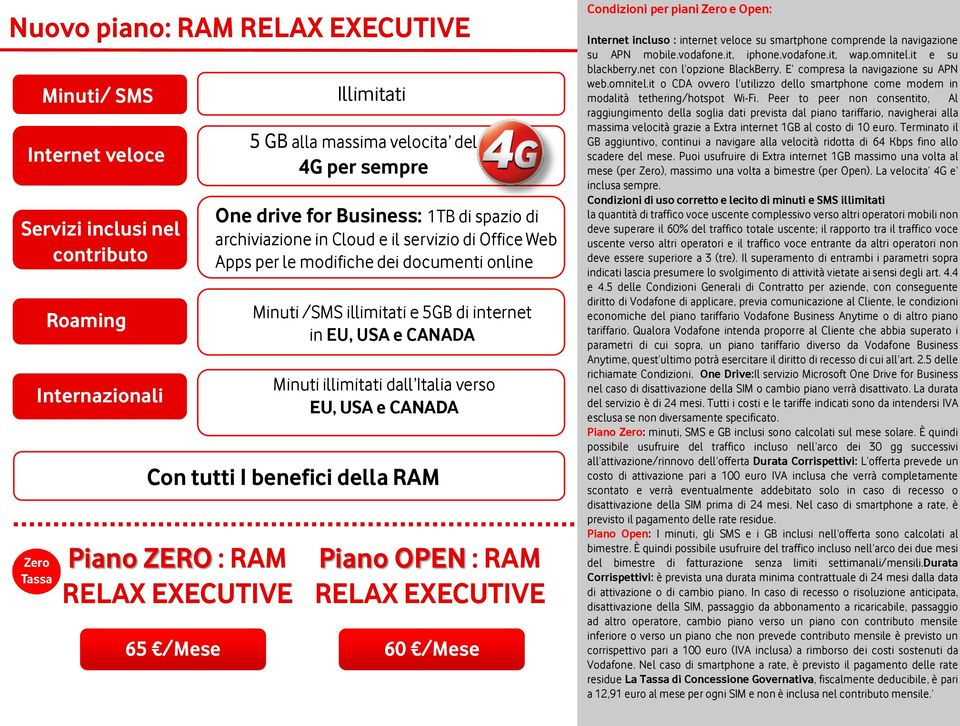illimitati e 5GB di internet in EU, USA e CANADA Minuti illimitati dall Italia verso EU, USA e CANADA Piano OPEN : RAM RELAX EXECUTIVE 60 /Mese Condizioni per piani Zero e Open: Internet incluso :