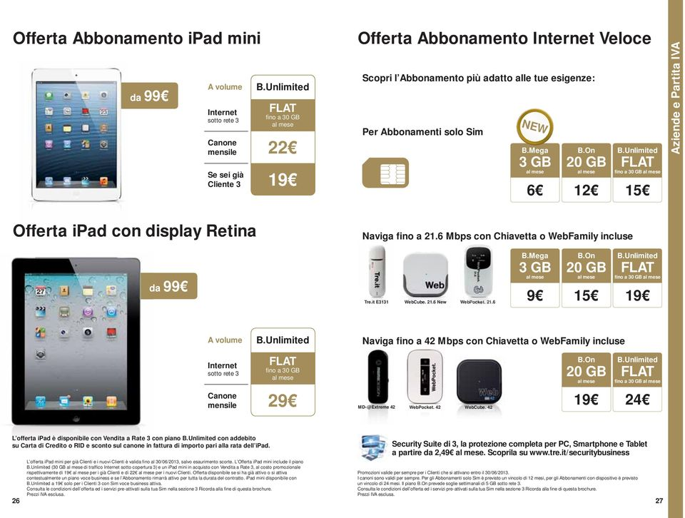 e 21.6 B.Mega 3 GB B.On fino a 30 GB 9 15 19 A volume Naviga fino a 42 Mbps con Chiavetta o WebFamily incluse Internet sotto rete 3 fino a 30 GB B.
