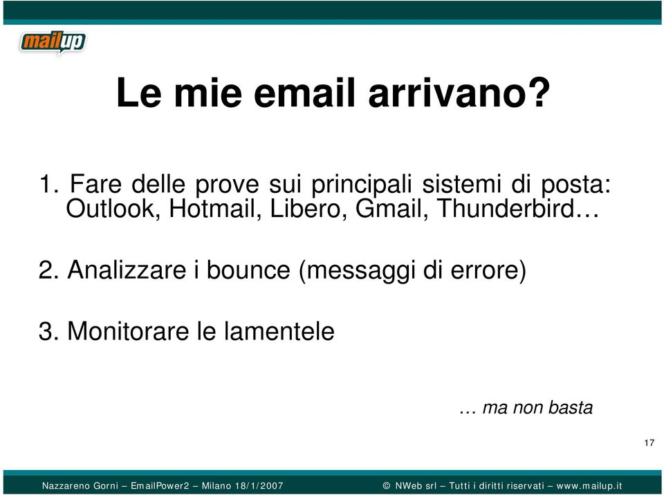 Outlook, Hotmail, Libero, Gmail, Thunderbird 2.