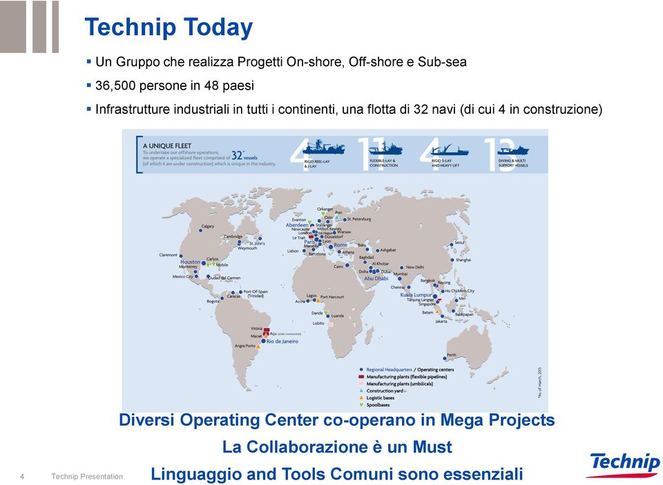 navi (di cui 4 in construzione) 4 Technip Presentation Diversi Operating Center