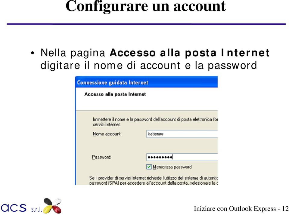 digitare il nome di account e la