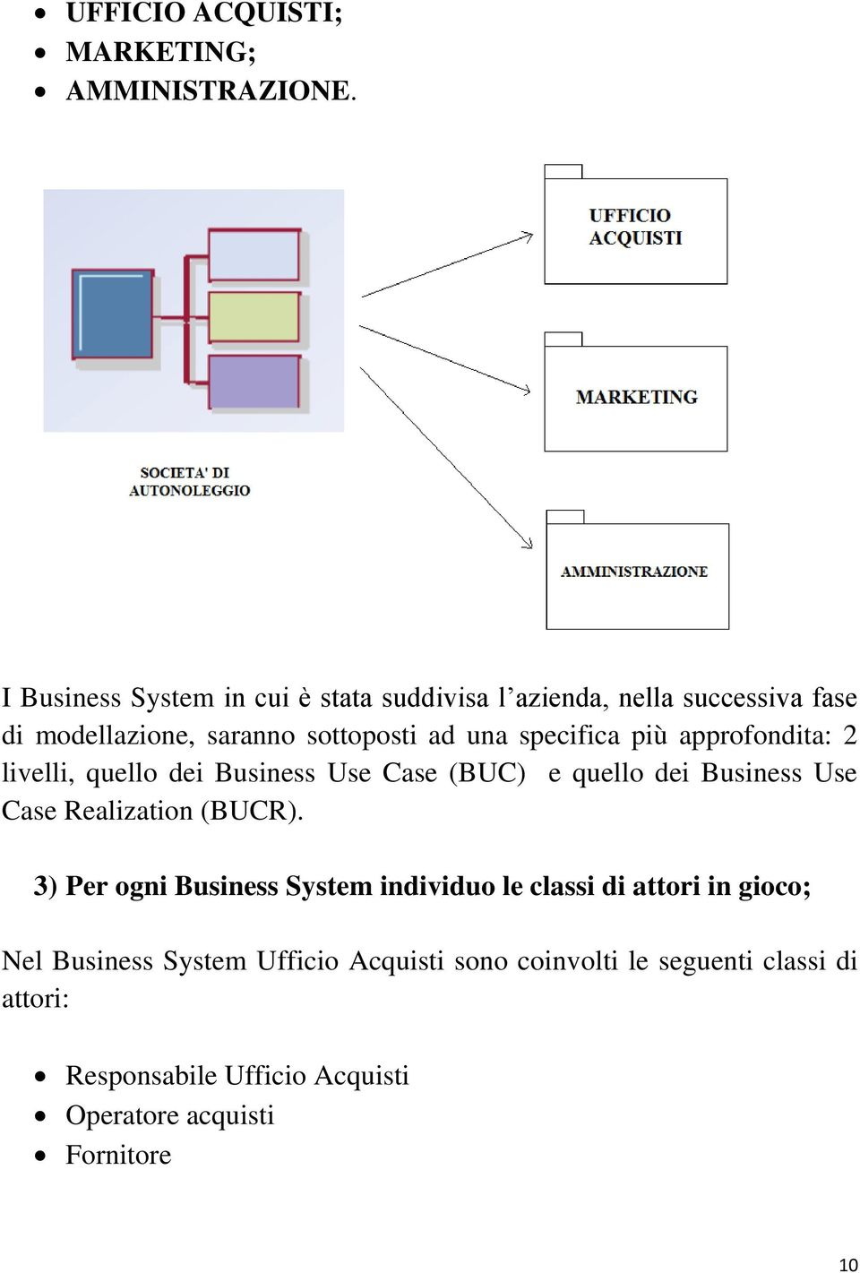 specifica più approfondita: 2 livelli, quello dei Business Use Case (BUC) e quello dei Business Use Case Realization (BUCR).