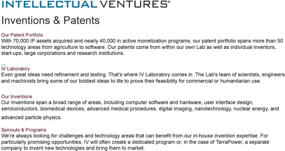 IV Laboratory Even great ideas need refinement and testing. That's where IV Laboratory comes in.