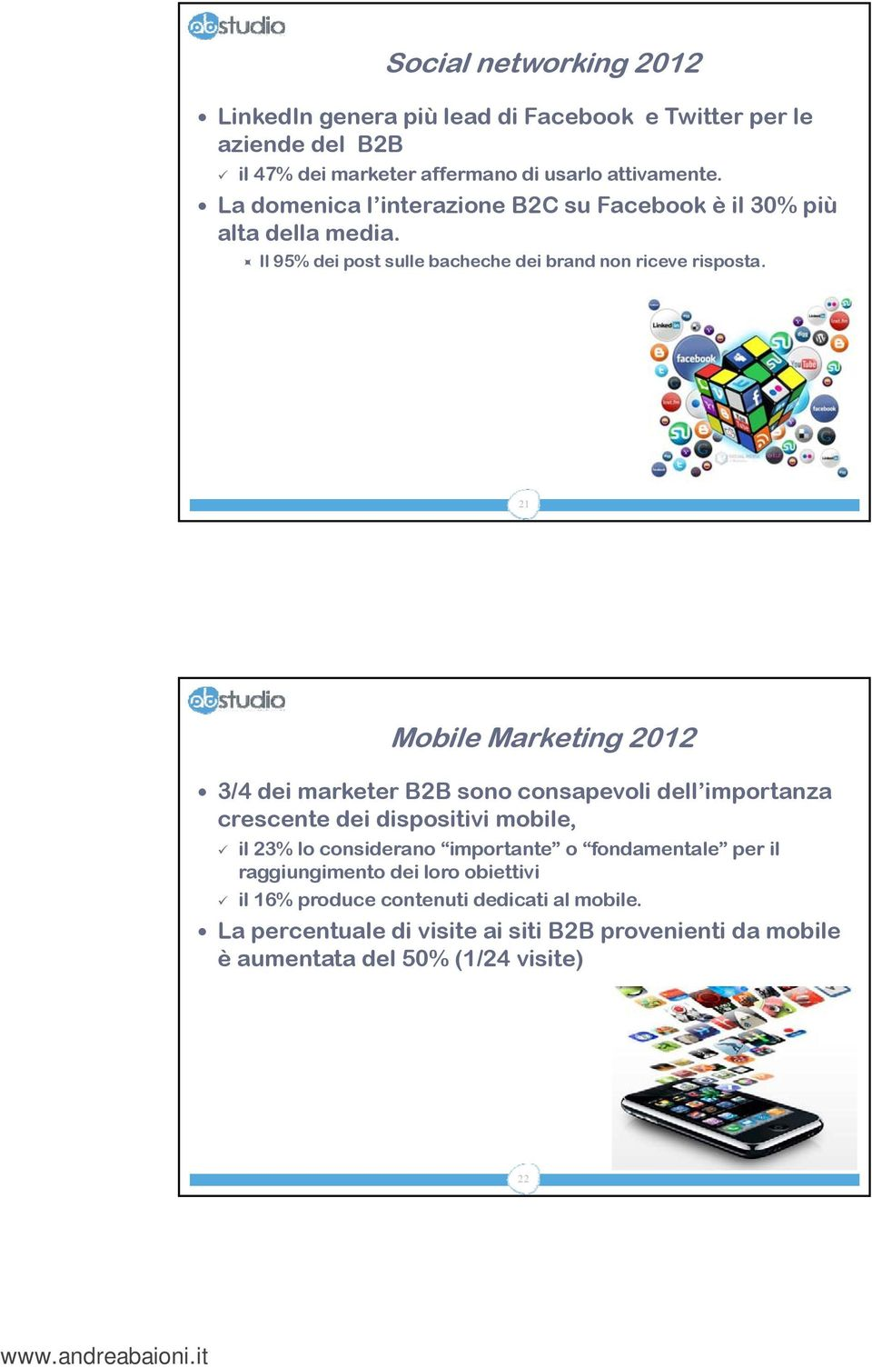 21 Mobile Marketing 2012 3/4 dei marketer B2B sono consapevoli dell importanza crescente dei dispositivi mobile, il 23% lo considerano importante o