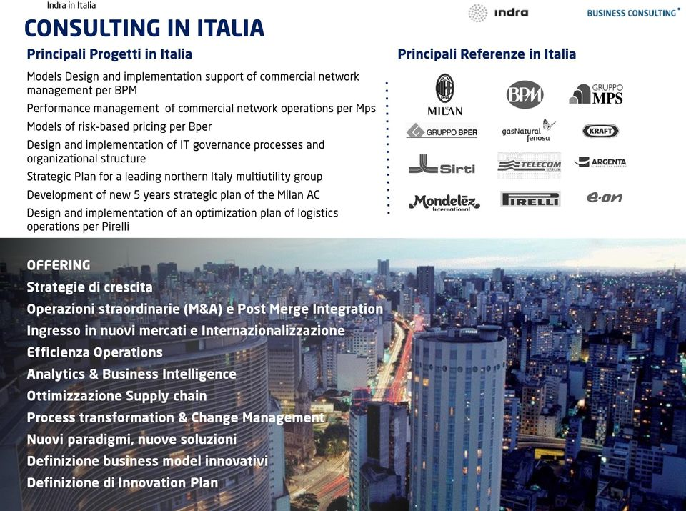 new 5 years strategic plan of the Milan AC Design and implementation of an optimization plan of logistics operations per Pirelli Principali Referenze in Italia OFFERING Strategie di crescita
