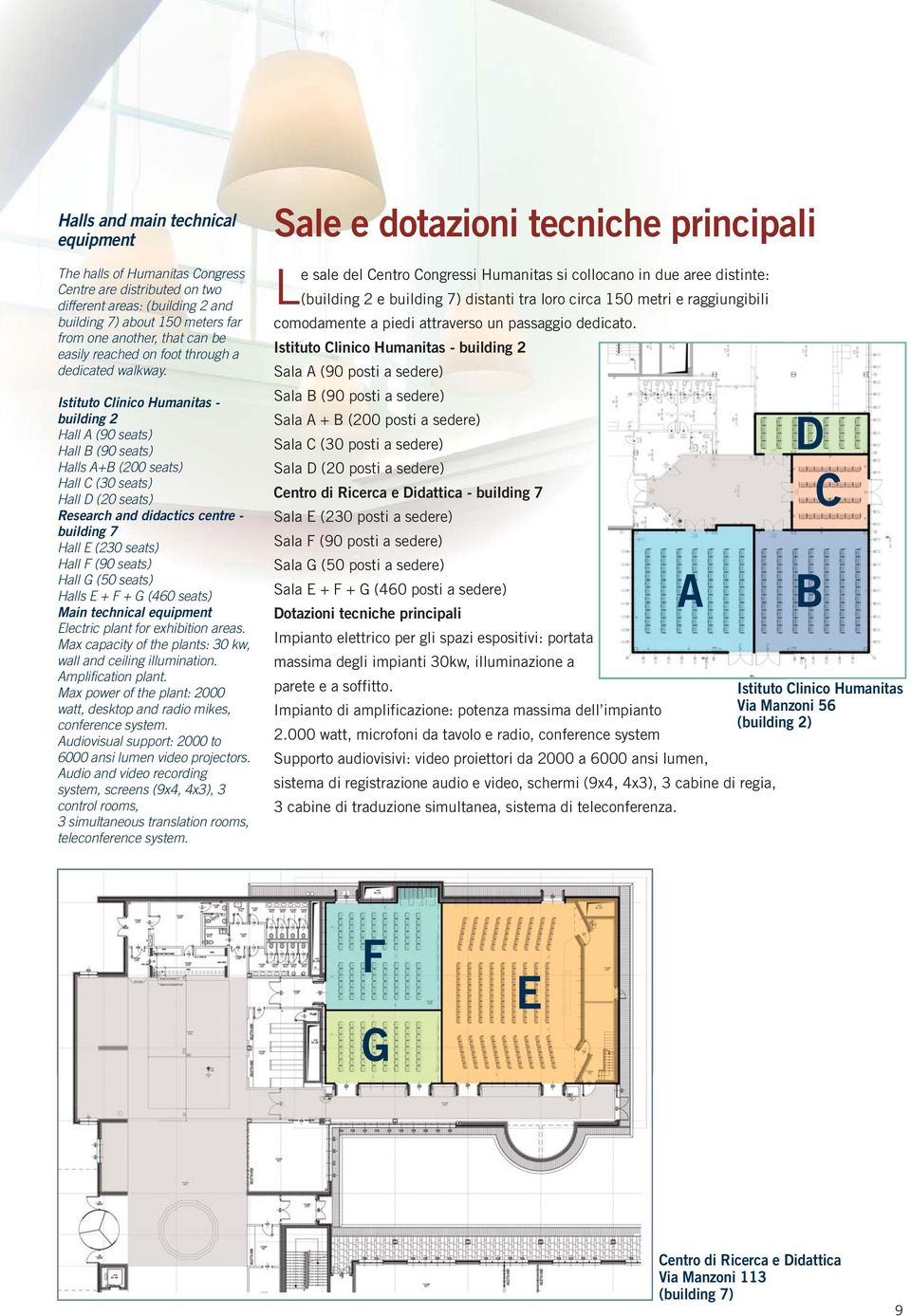 Istituto Clinico Humanitas - building 2 Hall A (90 seats) Hall B (90 seats) Halls A+B (200 seats) Hall C (30 seats) Hall D (20 seats) Research and didactics centre - building 7 Hall E (230 seats)